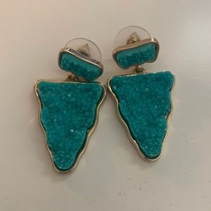 Baublebar Turquoise and Gold Druzy Drop Earring